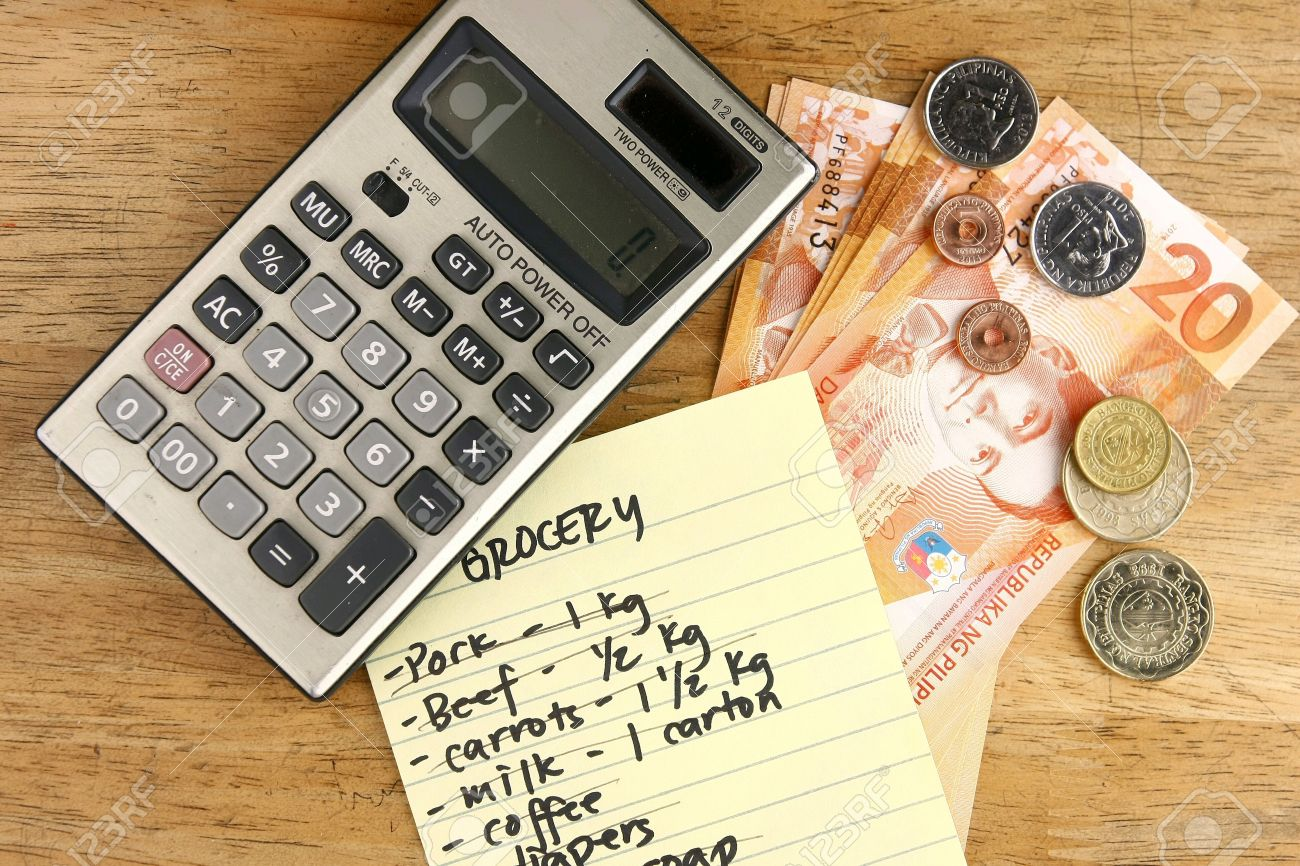 grocery list calculator and money stock photo picture and royalty