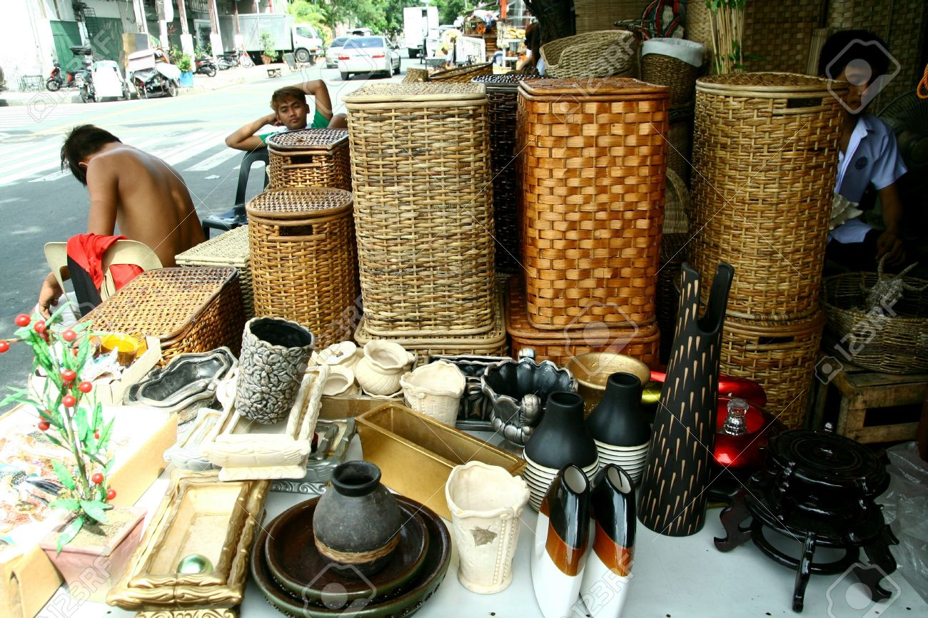 Stock Photo   Wooden Home Decor And Baskets Sold At Stores In Dapitan  Arcade, Manila, Philippines