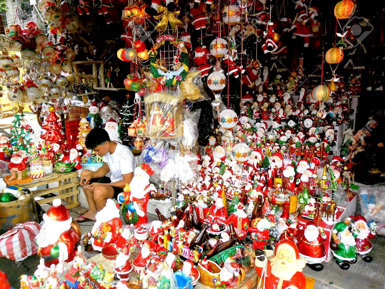 stock photo store in dapitan arcade in manila philippines selling christmas decorations