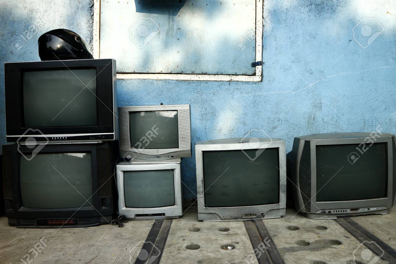 Photo of old and used television on display at a repair shop - 126677460