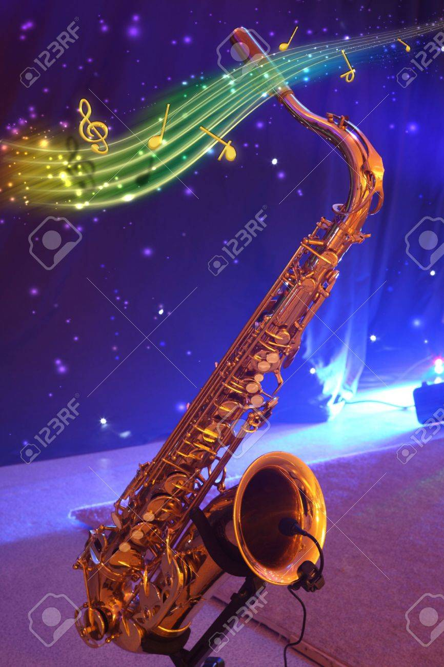 Saxophone with note signs on a blue background. Stock Photo - 6660281