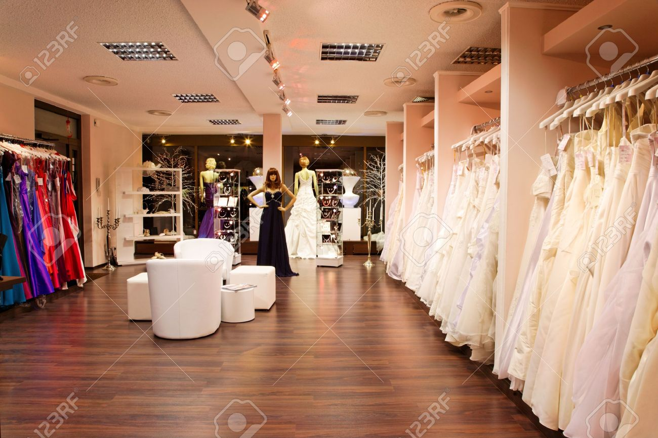 fc6fa5eb60d3 Mannequins in wedding and evening gowns in the bridal shop. Stock Photo -  15276002
