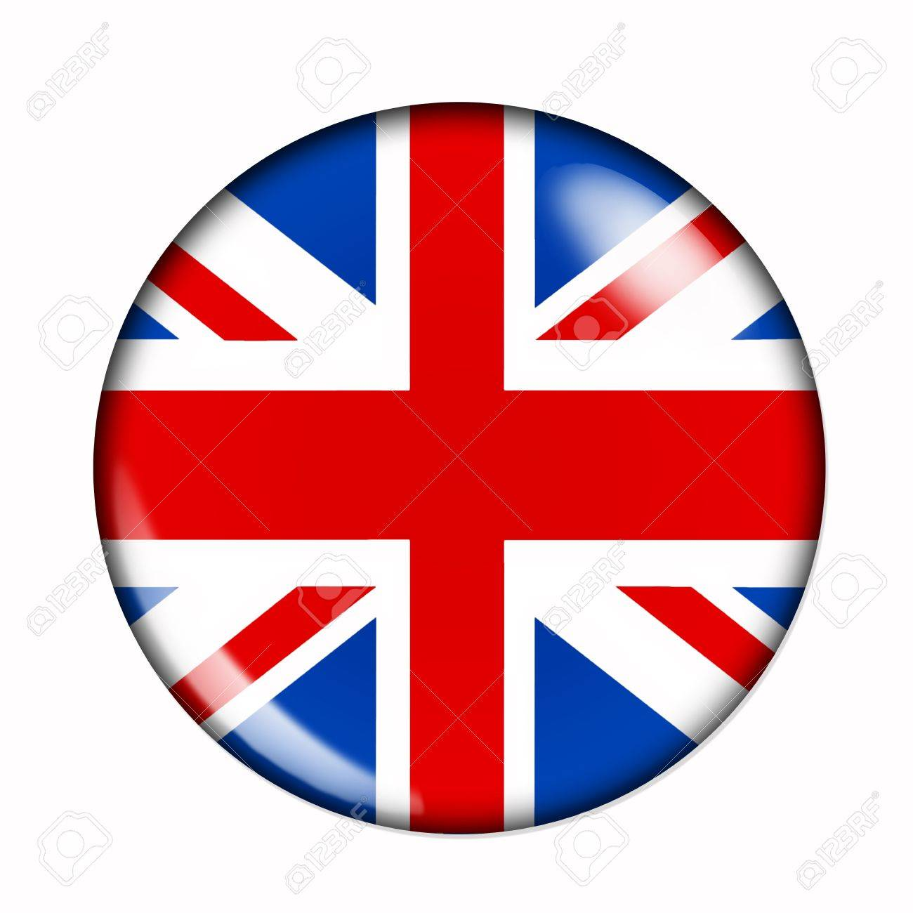 an isolated circular buttonised flag of great britain stock photo