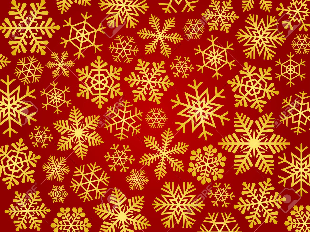 Red Christmas Background With Golden Snowflakes. Royalty Free ...