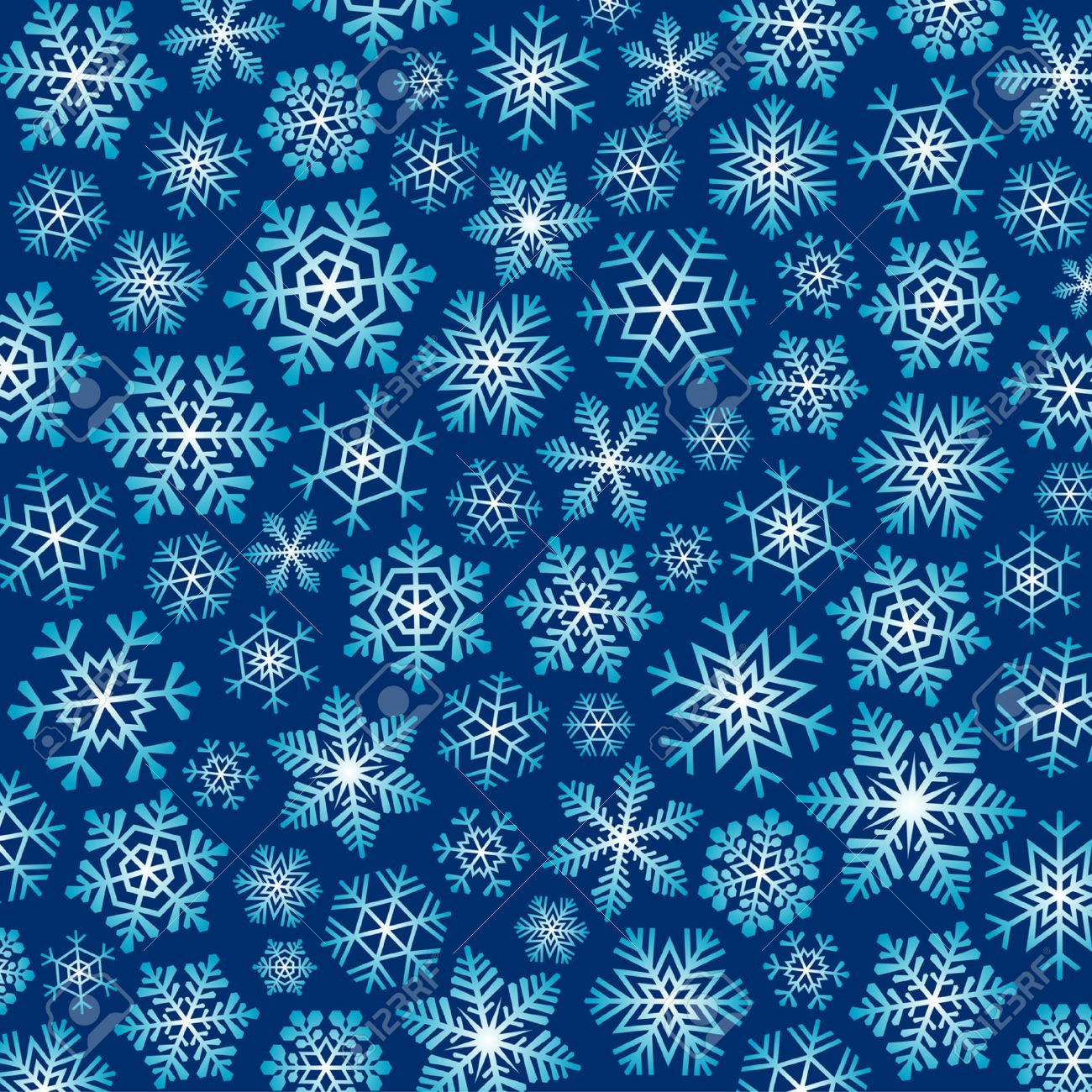 Dark Blue Christmas Background With Blue And White Snowflakes ...