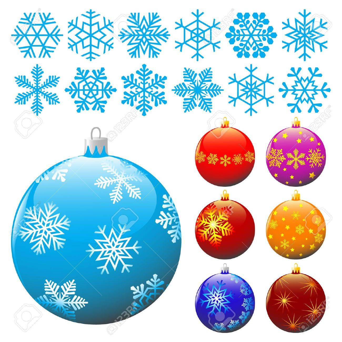 Collection of snowflakes and christmas balls. Stock Vector - 5168255
