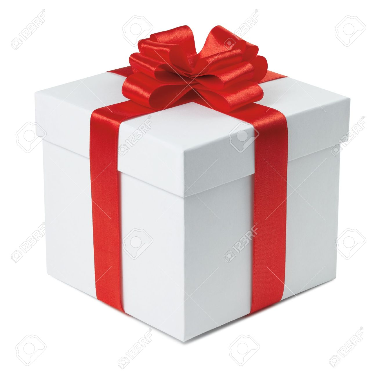 Red gift bows border with clipping path for easy background removing - Red Box Gift Box With Ribbon End Bow On The White Background