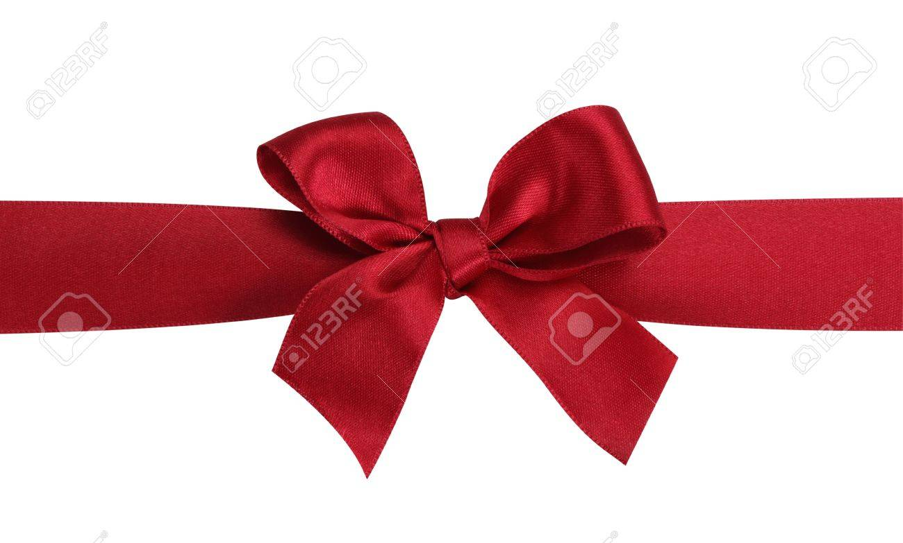 Red gift bows border with clipping path for easy background removing - Red Bow Red Gift Bow With Ribbon Isolated On The White Background