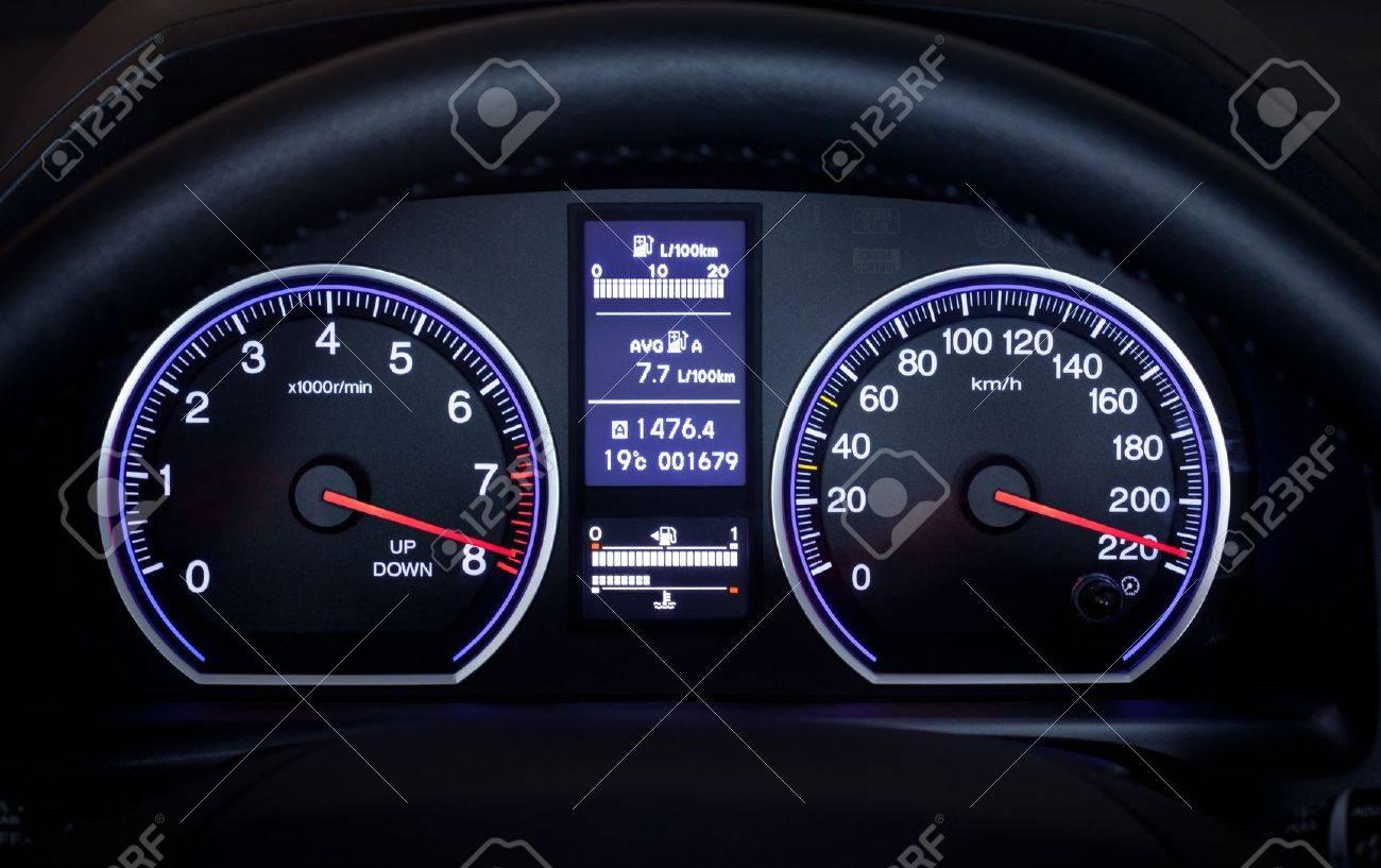 Illuminated Car Dashboard Displaying Maximum Speed Stock Photo