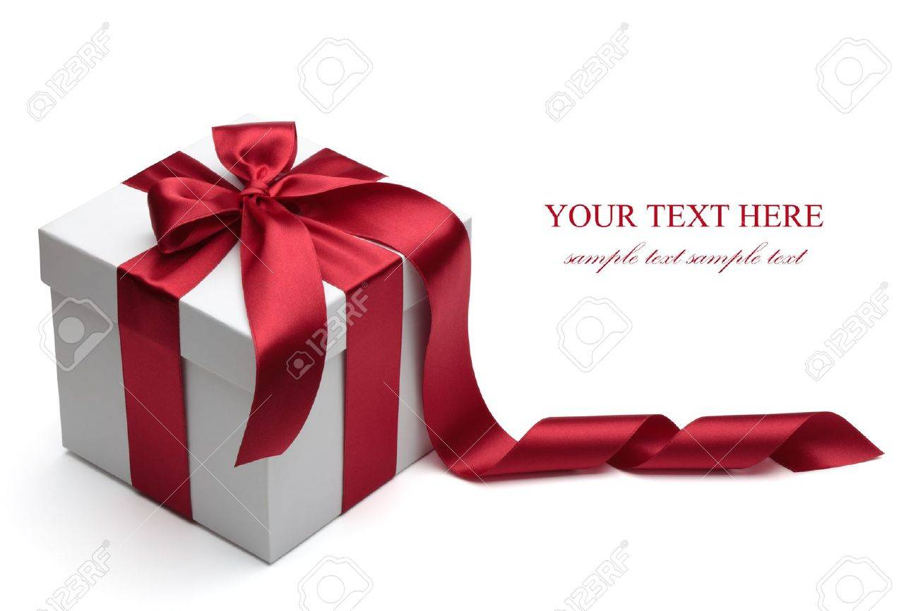Gift box with red ribbon and bow isolated on the white background, clipping path included. Stock Photo - 10898835