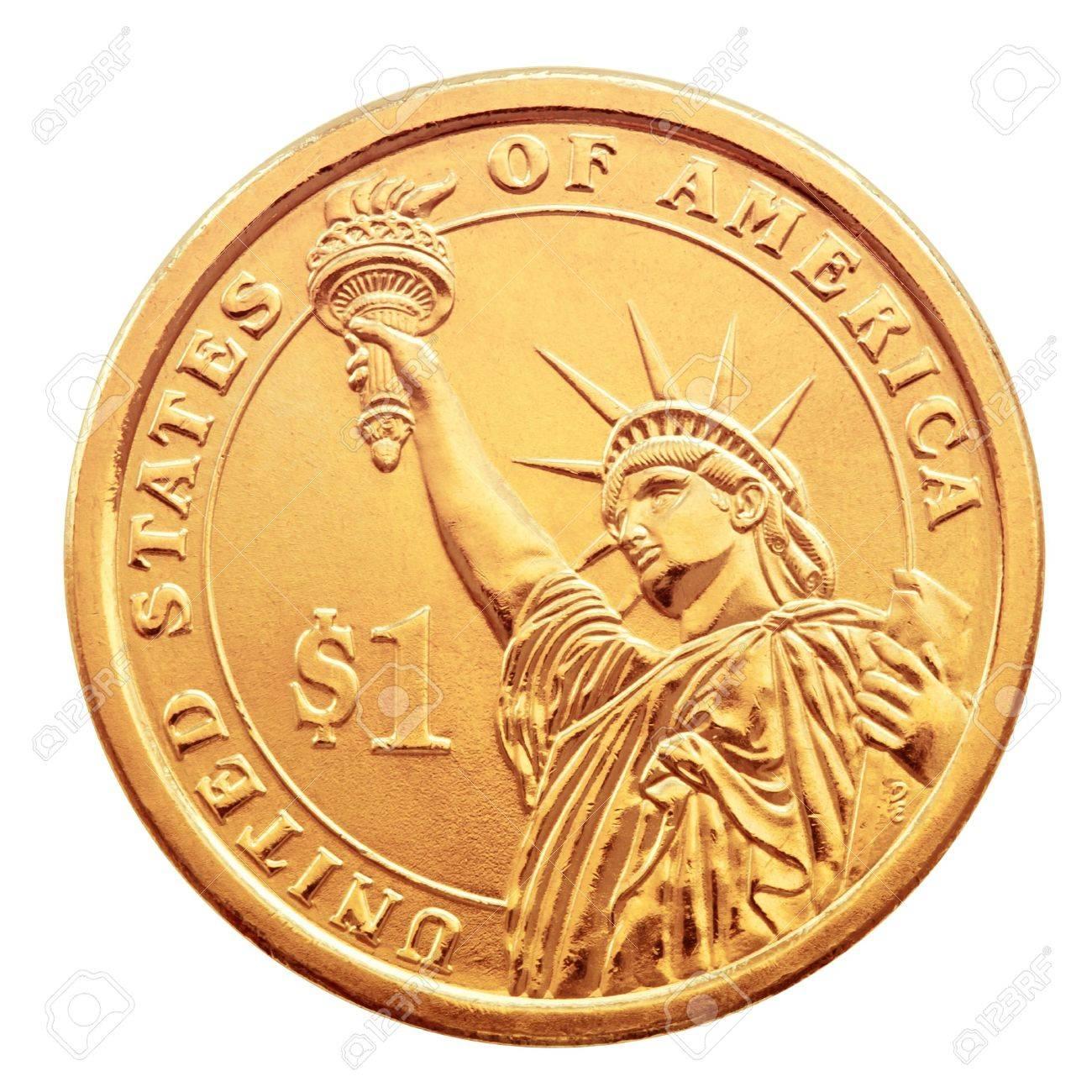 Golden One Dollar Münze Auf Dem Weißen Hintergrund Lizenzfreie
