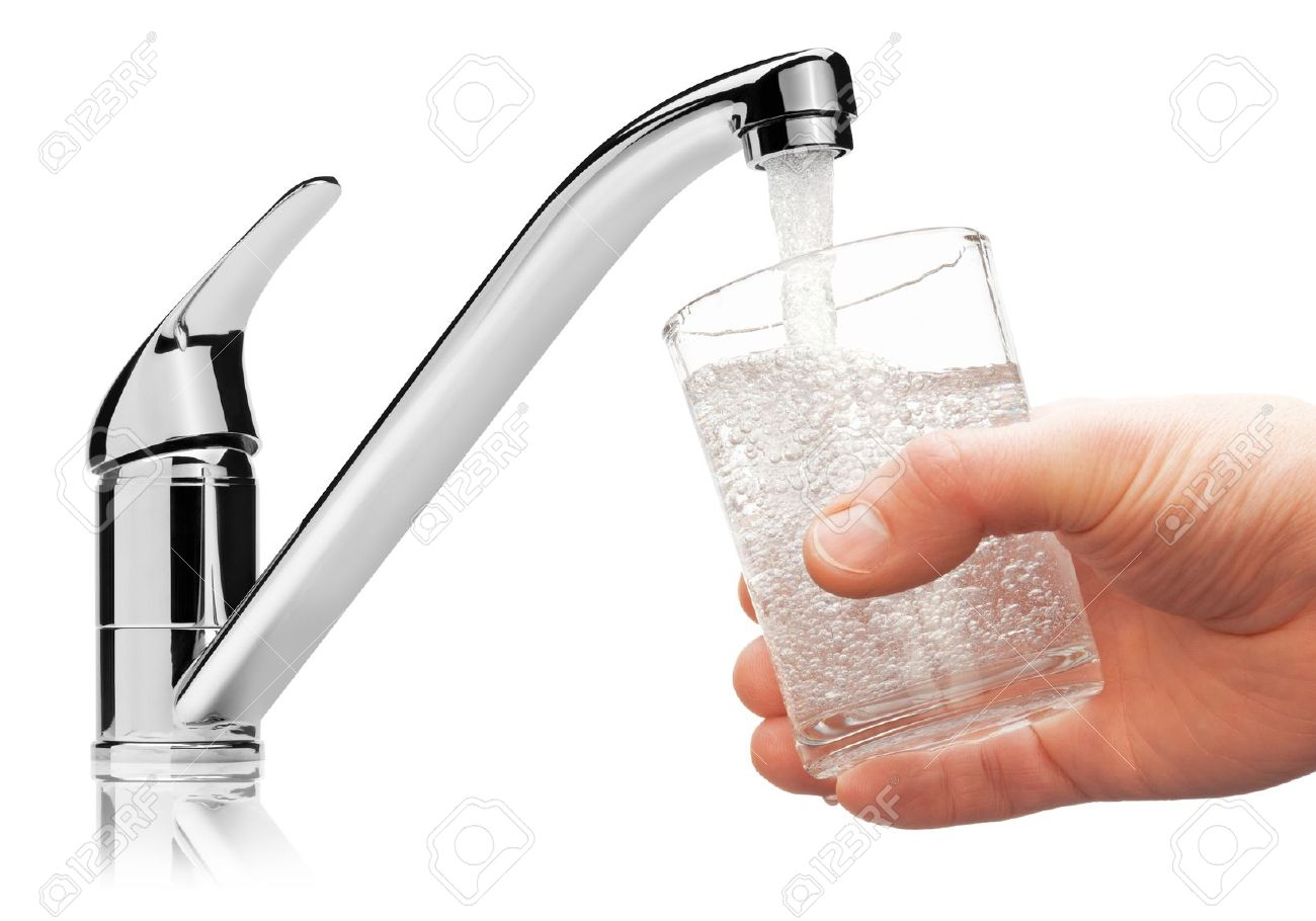 Glass filled with drinking water from tap, isolated on the white background - 17880701