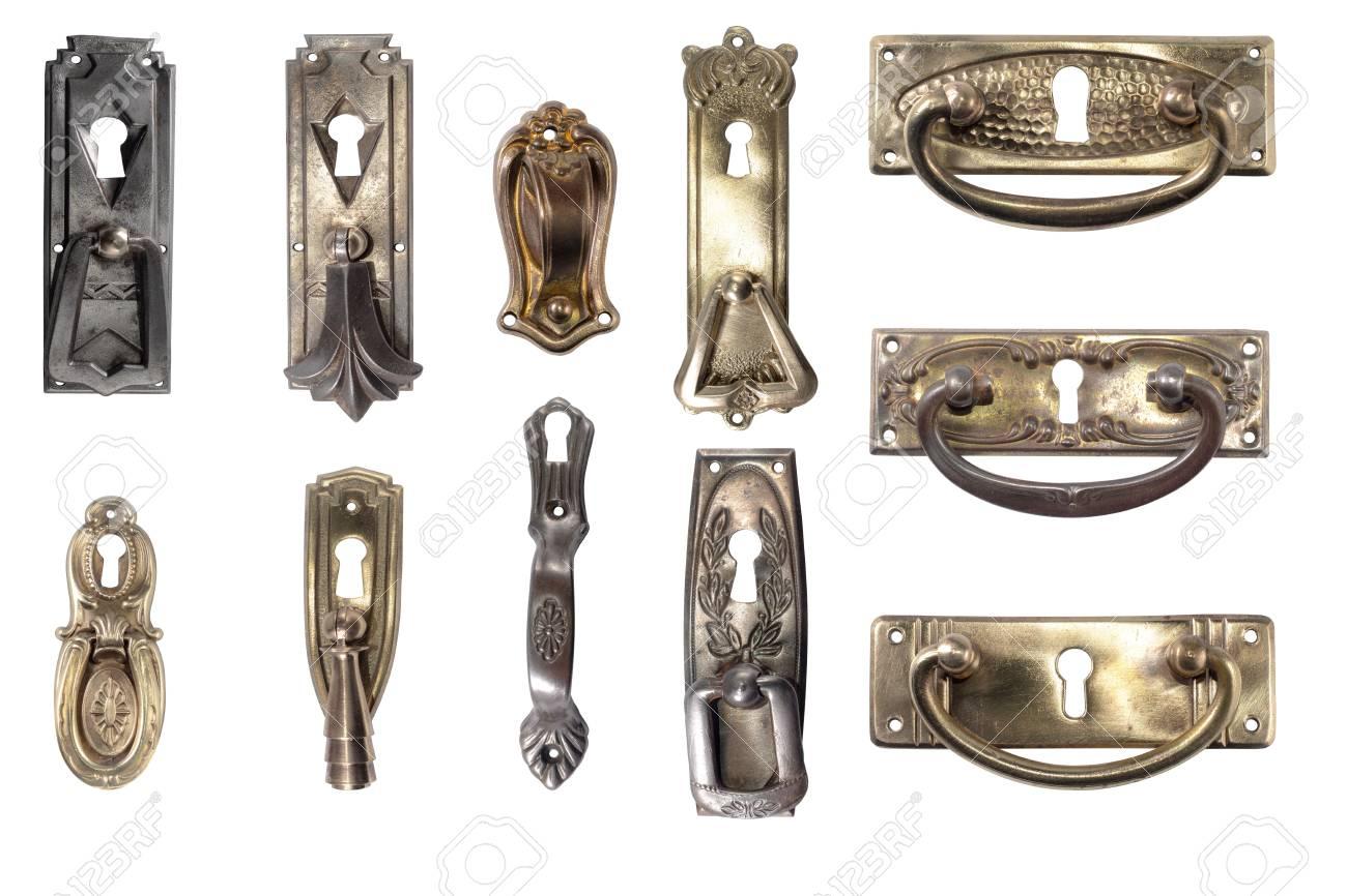 Display of vintage furniture hardware. Antique furniture metal handles.  Stock Photo - 71106404 - Display Of Vintage Furniture Hardware. Antique Furniture Metal