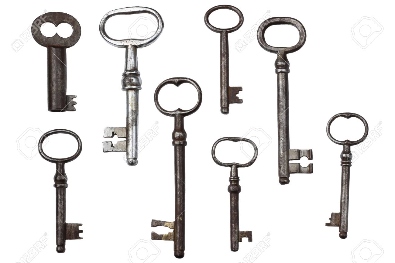 Clé Ancienne ancienne clé ancienne vintage sur fond blanc banque d'images et