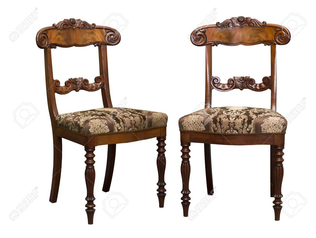 photo antique biedermeier chair with and wood carving
