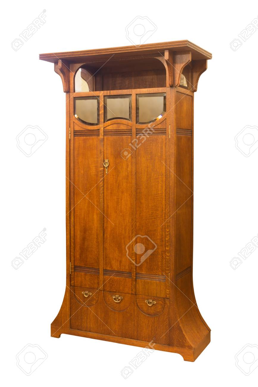 Antique Wooden Art Nouveau Cabinet Just Restored On White Stock Photo    76237419