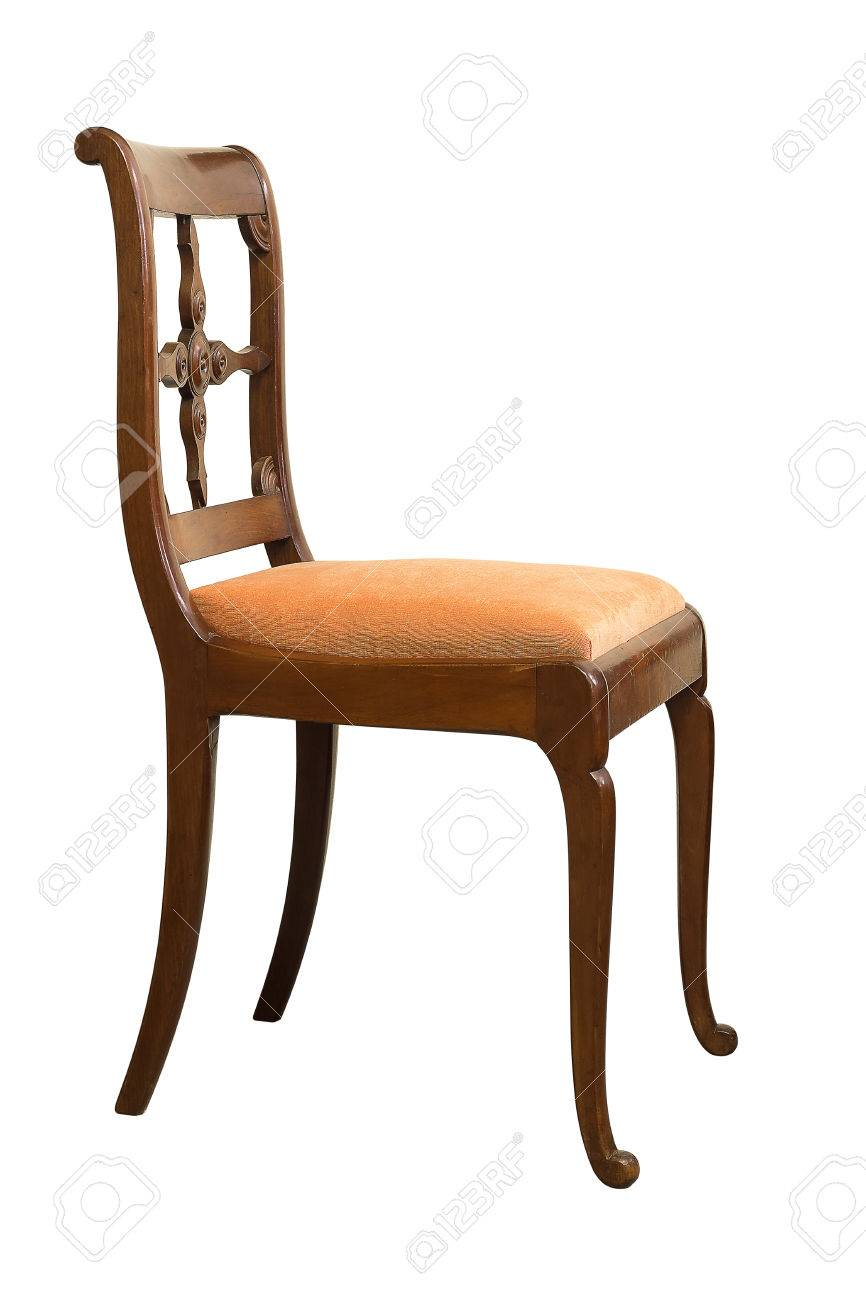Antique Biedermeier Chair Isolated With Orange Fabric And Wood Carving  Stock Photo   79008242