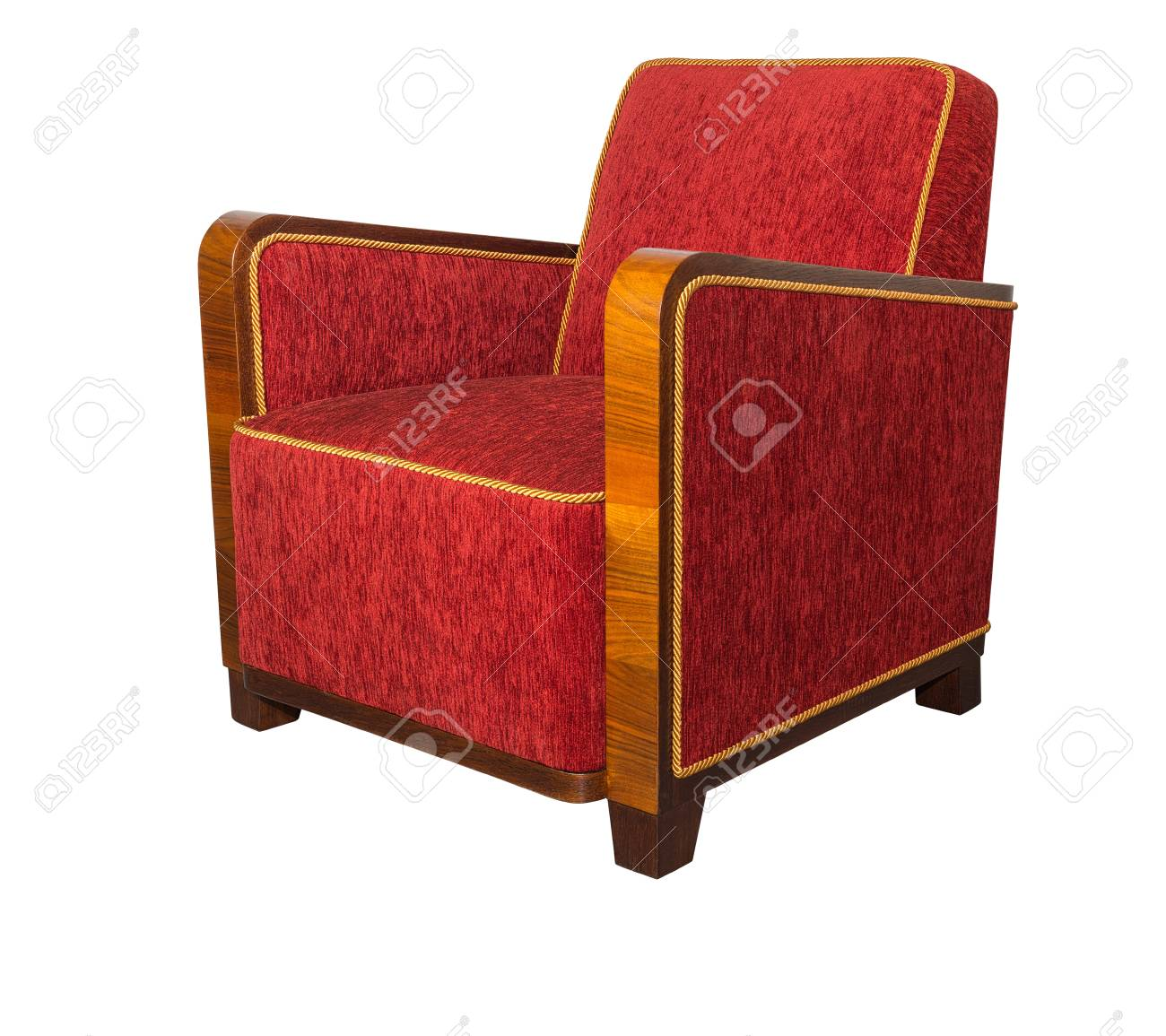 Art Deco Style Upholstered Red Armchair With Angular Wooden Armrests Stock Photo Picture And Royalty Free Image Image 84933688