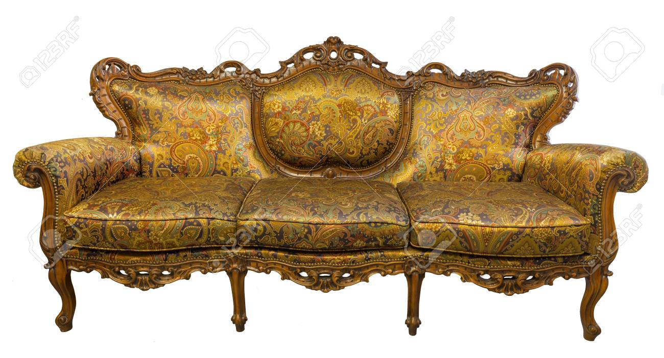 Vintage Luxury Golden Sofa Armchair Isolated On White Stock Photo Picture And Royalty Free Image Image 90616537