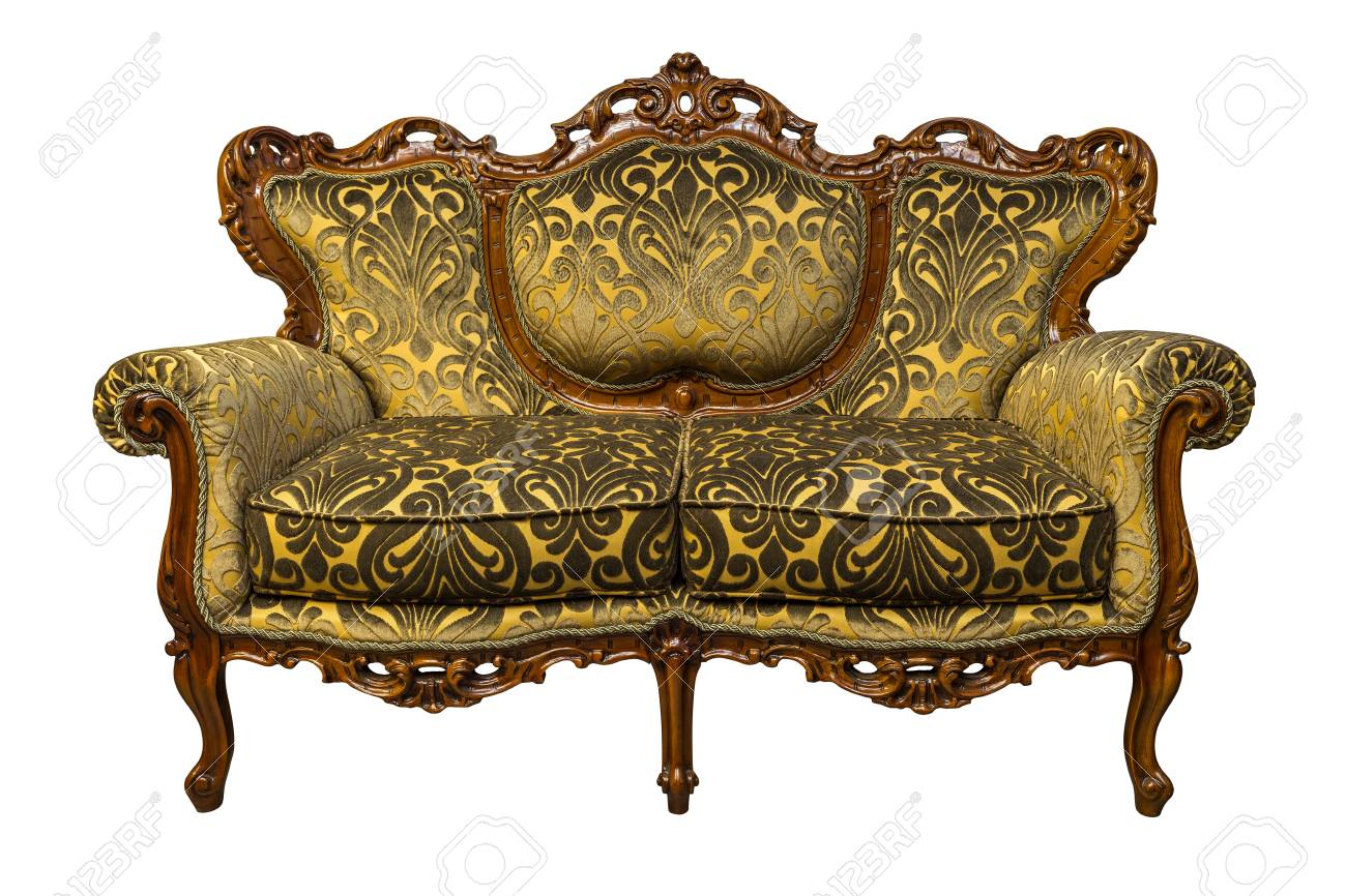 Stock Photo   Vintage Luxury Golden Sofa Armchair Isolated On White  Background
