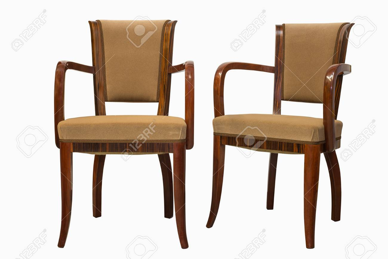 vintage art deco furniture. Stock Photo - Vintage Art Deco Chairs Isolated On White Background Furniture F