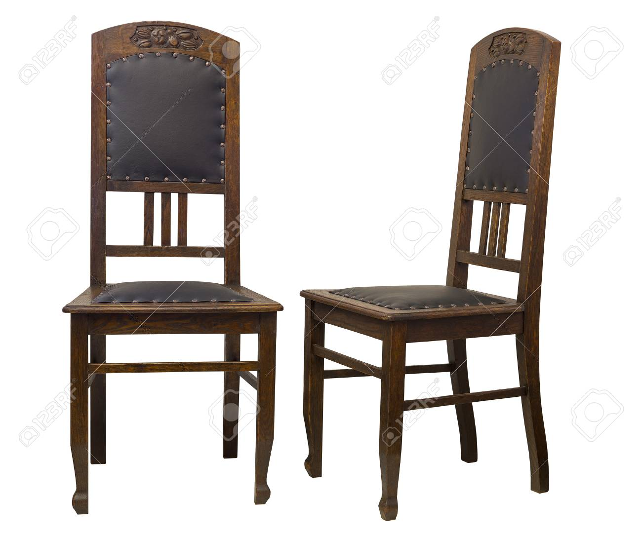 Stock Photo   Vintage Oak Chairs Isolated On White Background