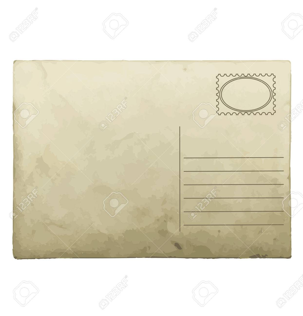 vintage postcard template retro style mail object stock vector 36374740