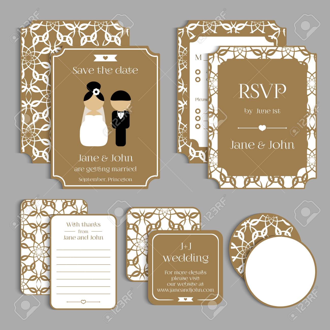 Set Of Floral Vintage Wedding Cards Wedding Invitation Card
