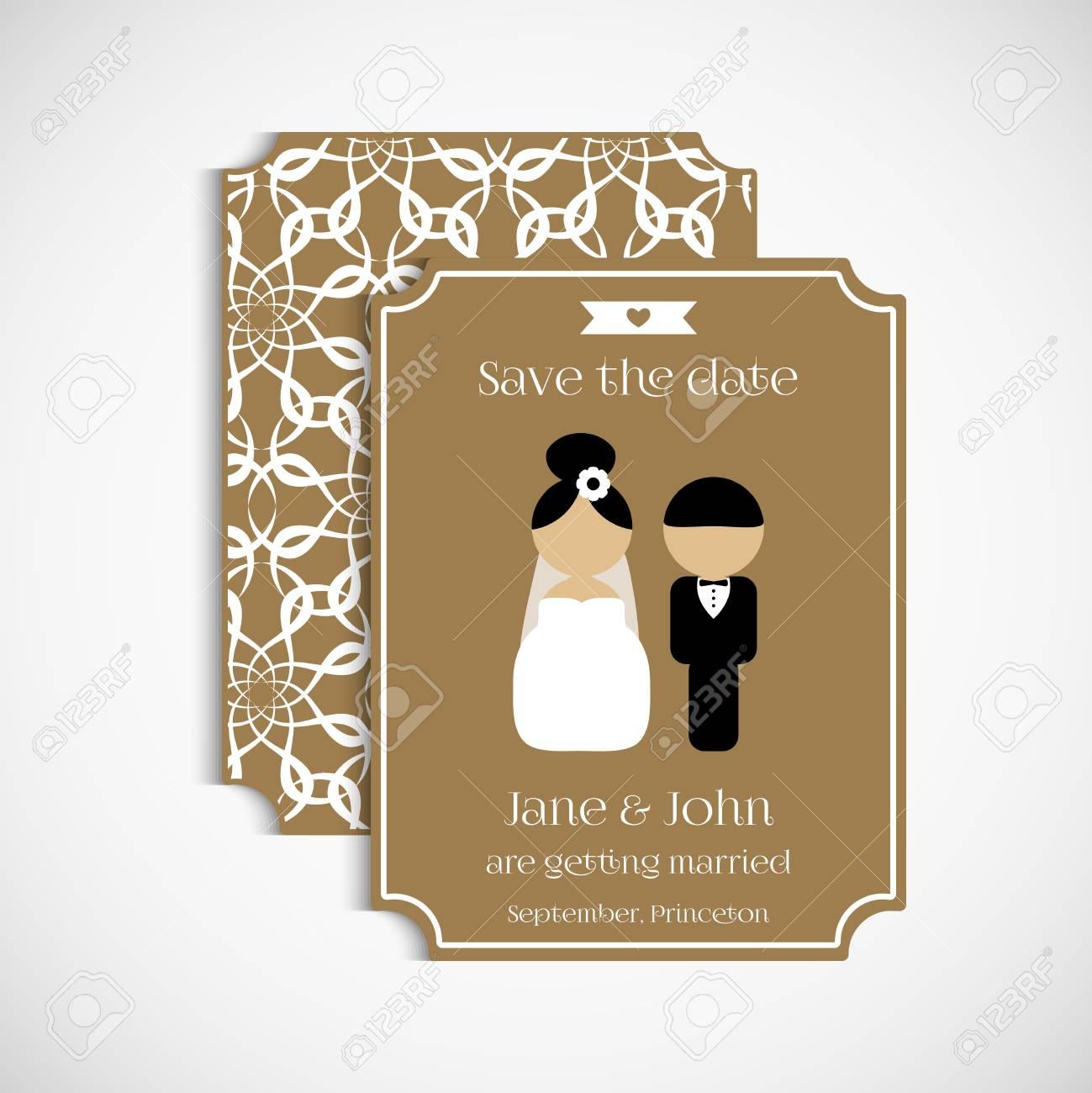 Conjunto De Invitaciones De Boda Vintage Florales Invitación De Boda Tarjeta Banner Etiqueta Evento De Matrimonio Los Iconos De La Novia Y El