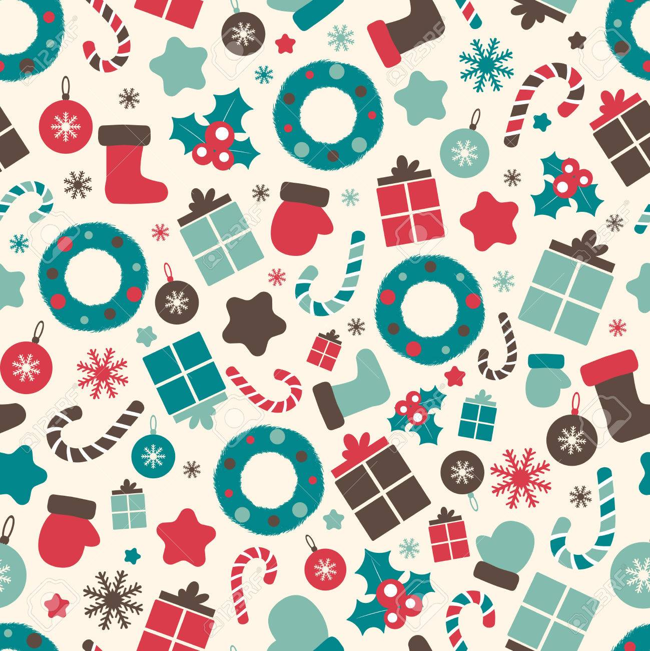 Christmas Pattern.Retro Style Christmas Patterns Winter Background Endless Texture
