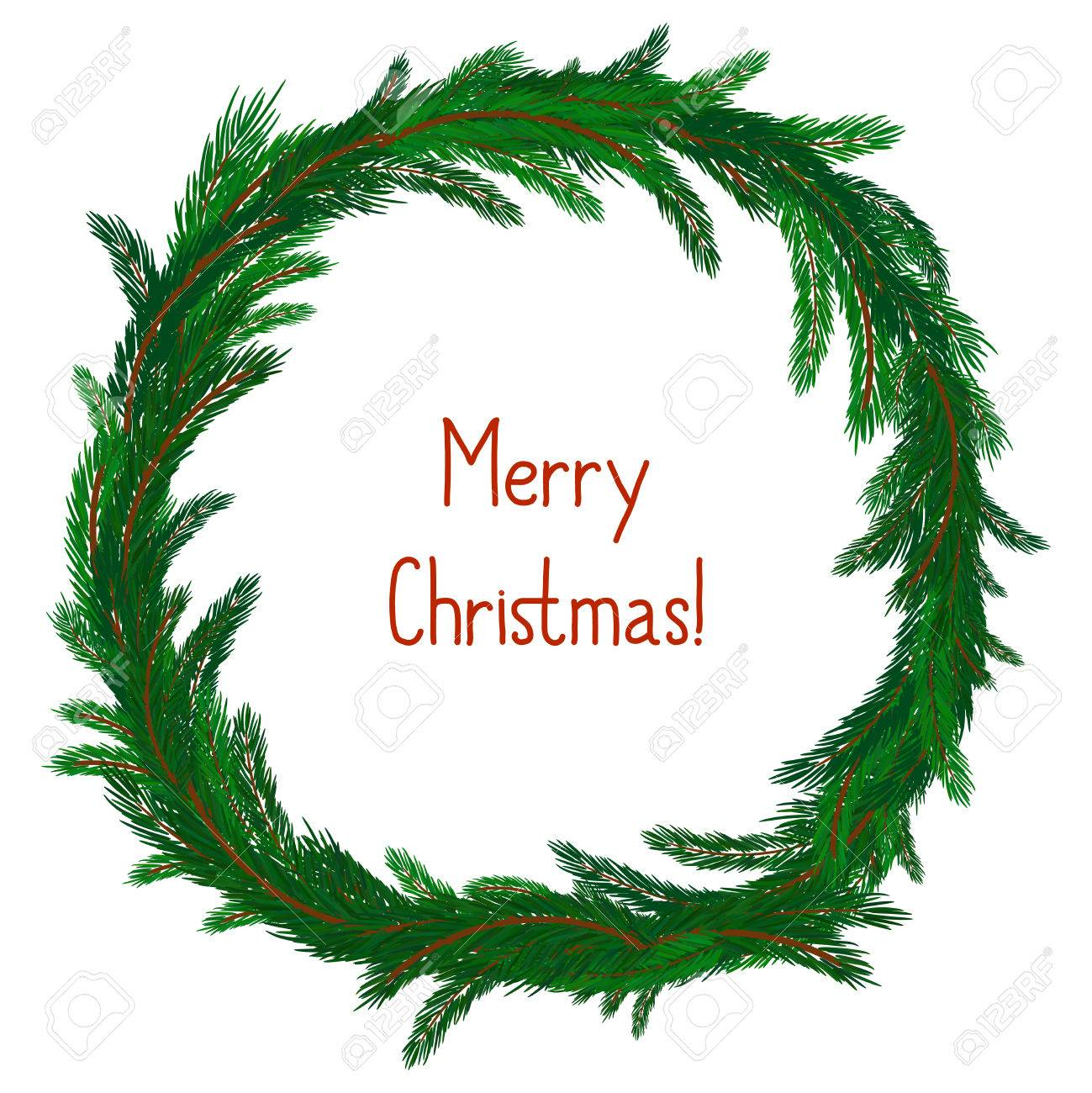 simple christmas wreath isolated on white evergreen branches