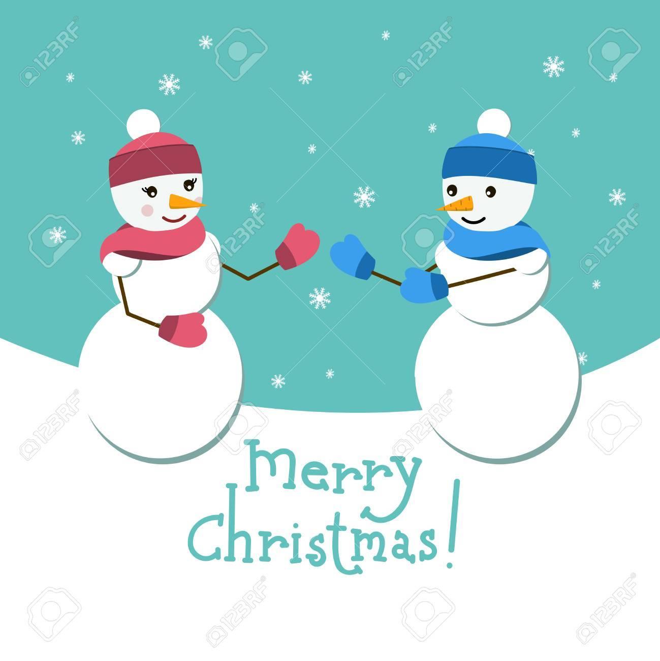 雪だるまとメリー クリスマスの文字彼のガール フレンドのベクトル