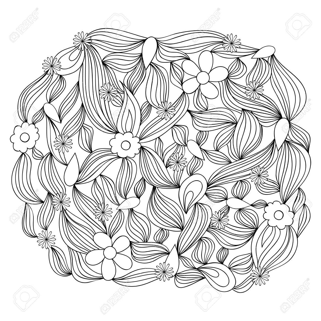 hand drawn round ornament template for greeting card postcard