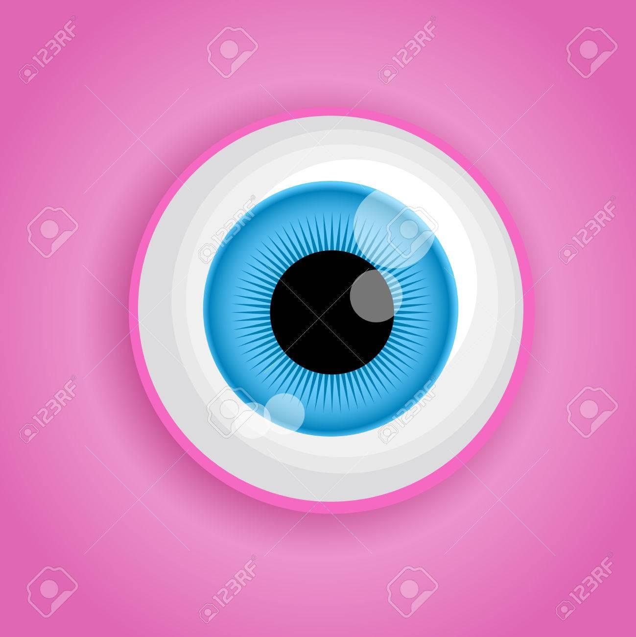 Hintergrund Mit Cartoon-Monster Auge In Rosa Farben. Vektor ...