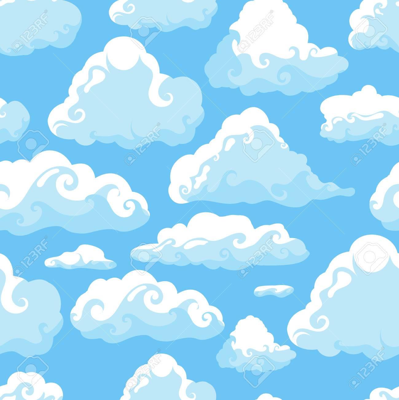 Cielo Azul Con Nubes Blancas Dibujado A Mano Patrón Transparente