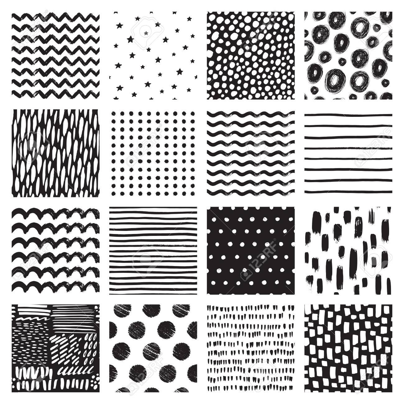 Modèles Sans Couture Avec Dessin à Main Levée Et Tache Abstrait Noir Et Blanc Texture De Vecteur
