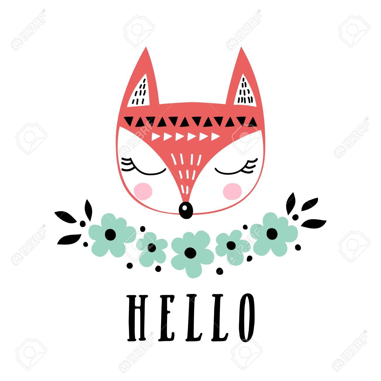 かわいいキツネとベクトルカード子供の版画挨拶ポスターtシャツパッケージング招待のためのイラストかわいい動物デザインの要素こんにちはテキスト付きのポストカード面白い漫画の動物