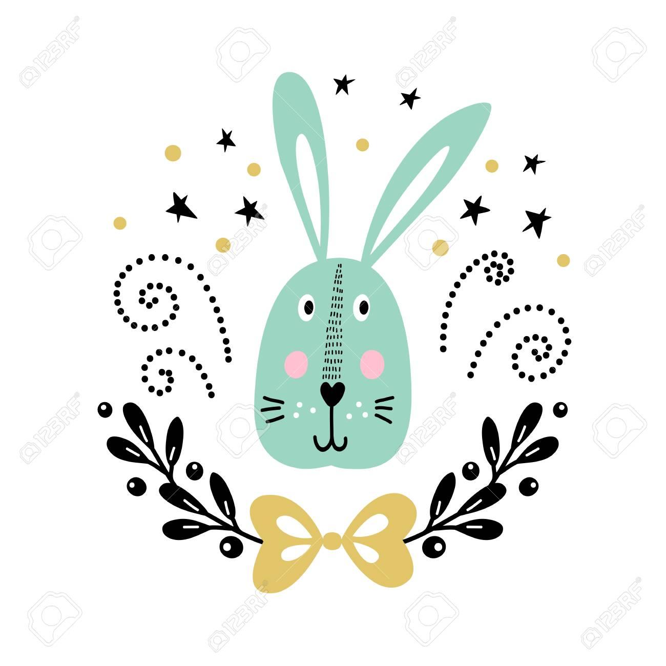 Tarjeta De Vector Con Conejo Lindo Ilustración Para Estampados Infantiles Saludos Carteles Camiseta Packaging Invitaciones Postal Con Lindo