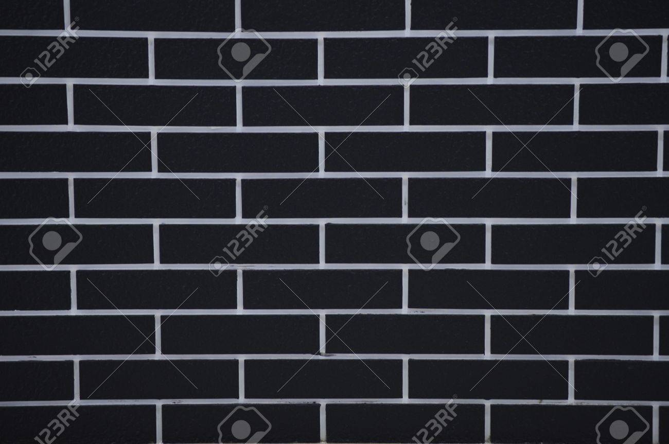 stock photo black brick wall design