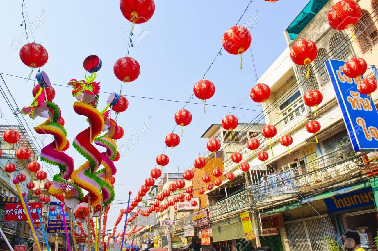 Nakhon Sawan, Thailand - February 5,2011 - Street lamp in chinese new year celebration Stock Photo - 8790703