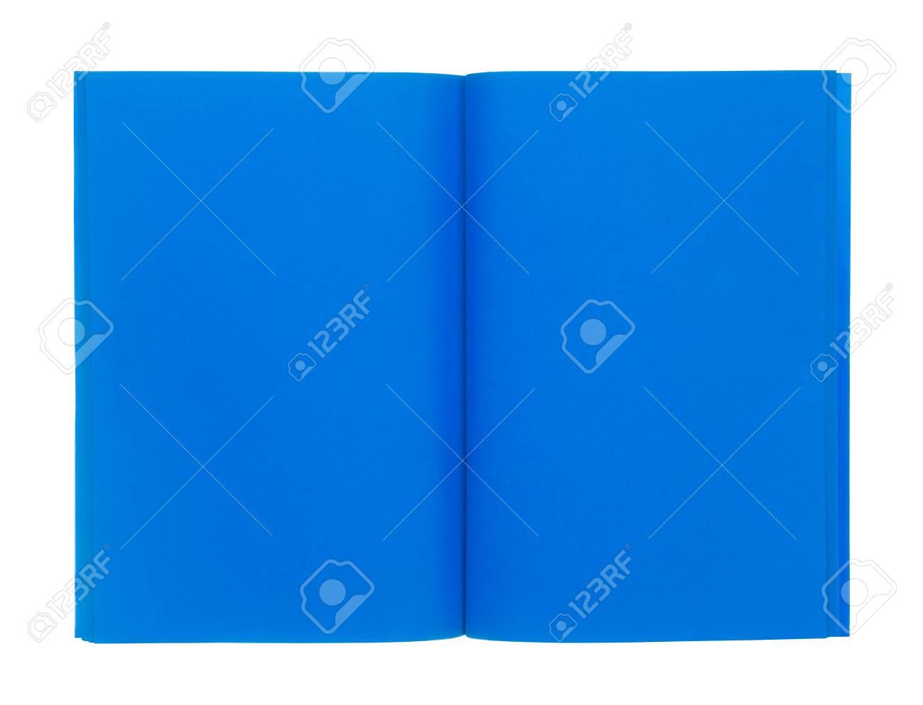Livre Bleu Ouvert Isole Sur Fond Blanc