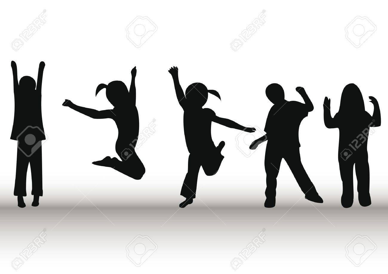 Happy kids playing and jumping Stock Photo - 9027968