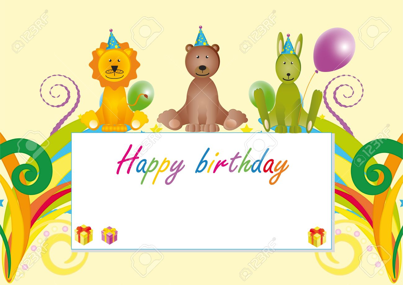 Colorful birthday card with cartoon animals stock photo picture and colorful birthday card with cartoon animals stock photo 9305157 bookmarktalkfo Choice Image