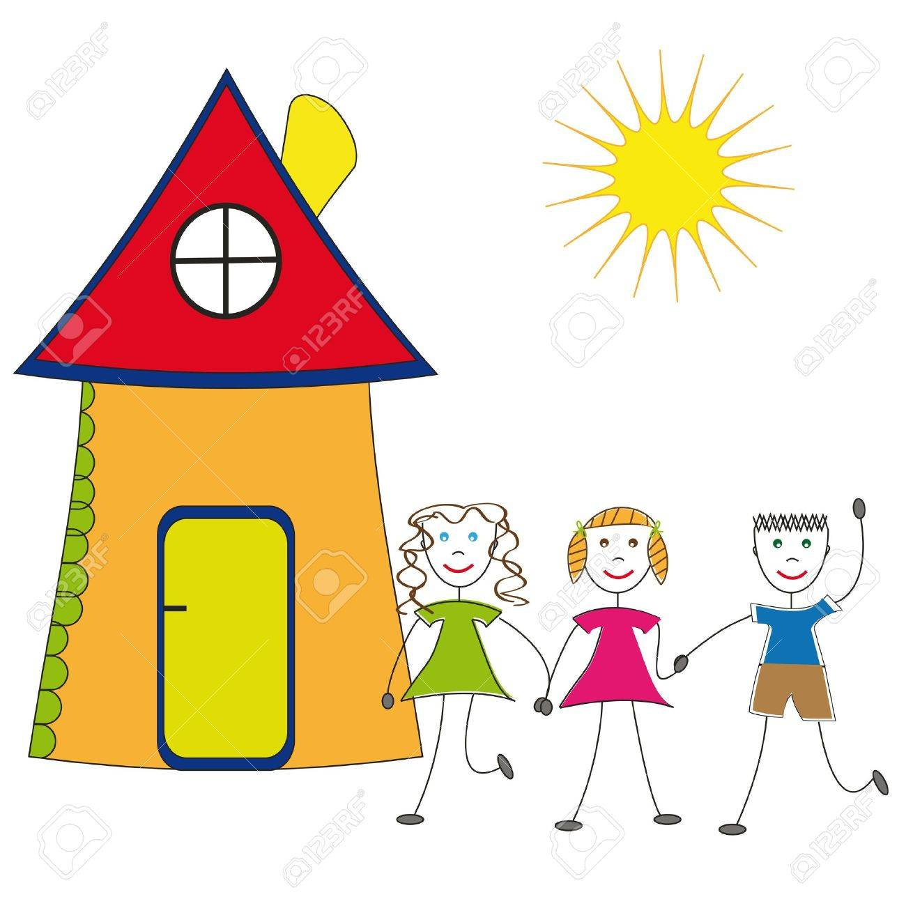 Happy children and their house Stock Vector - 9381212