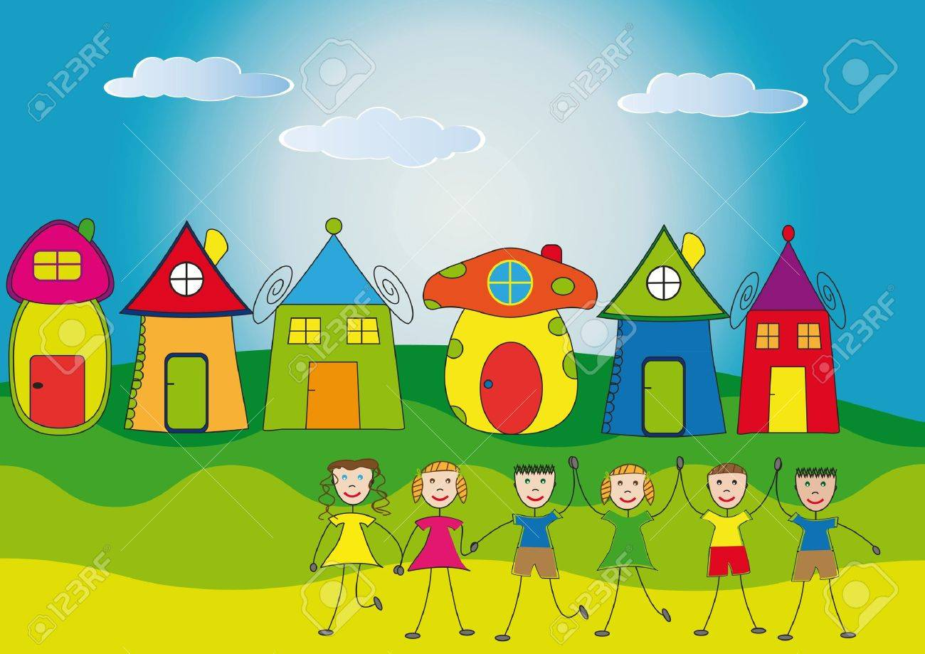 Happy children and their houses Stock Vector - 9381233