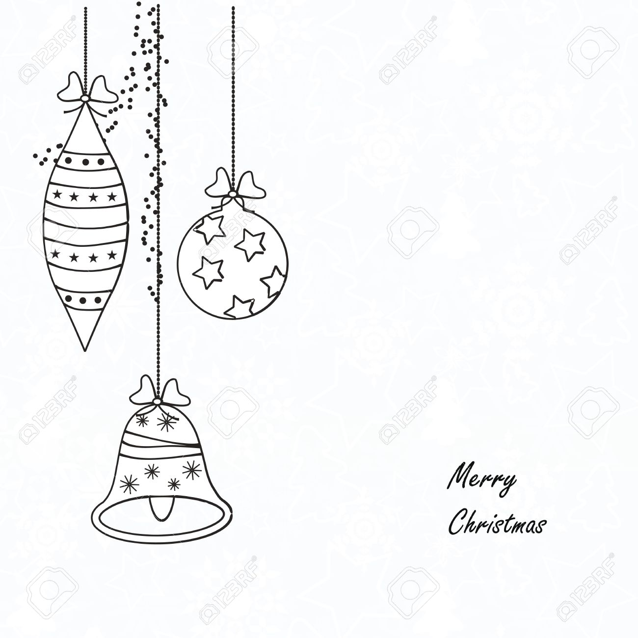 Black And White Modern Christmas Card Royalty Free Cliparts, Vectors ...
