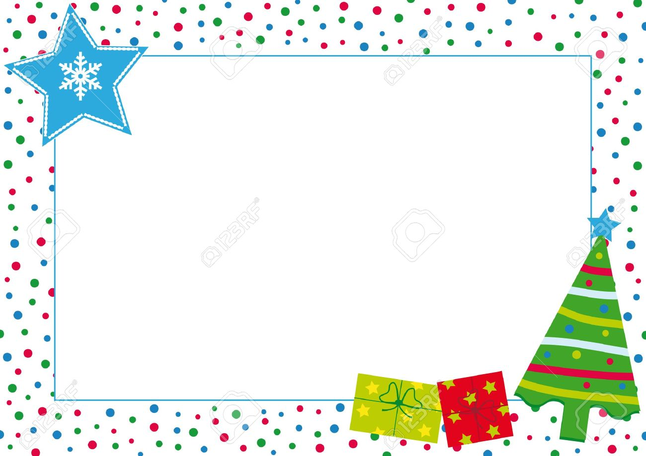 Kids Frame With Christmas Tree Stock Vector