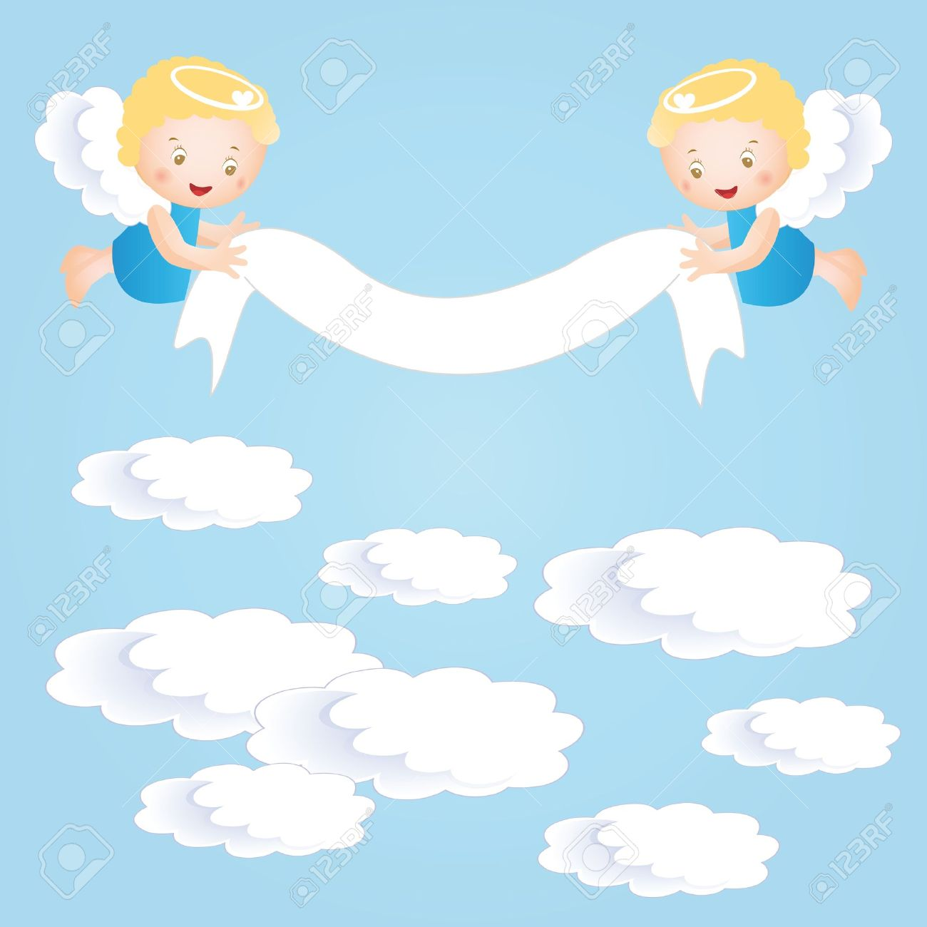 Baby Baptism Background With Small Angel Stock Vector