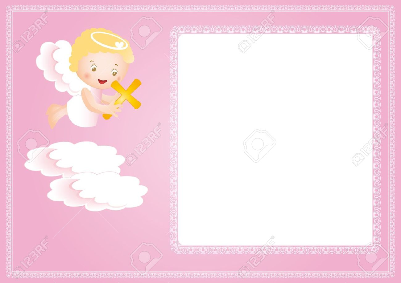 Marco De Bautismo De Bebé Con Pequeño Ángel Ilustraciones ...