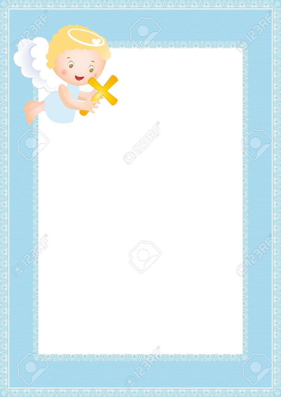 Baby baptism frame with small angel Stock Vector - 10730957